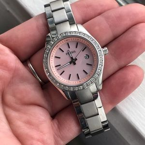 FOSSIL Pink MOP and Crystals Silver Ladies Watch